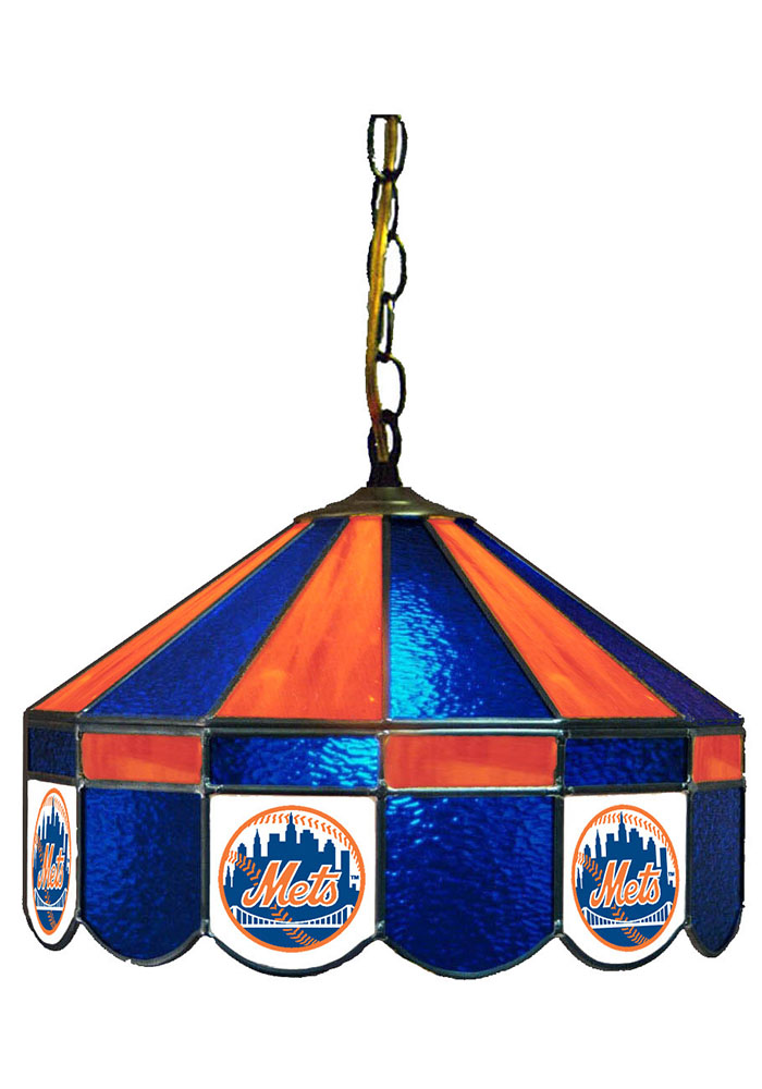 New York Mets 14 Inch Stained Glass Pub Lamp - Image 1