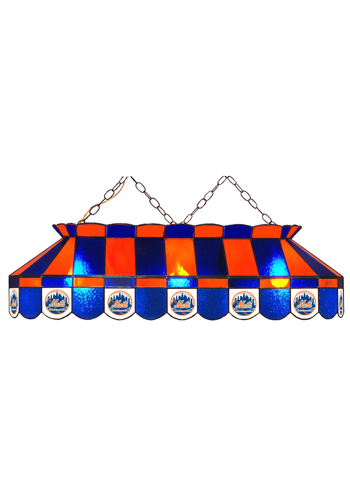 New York Mets 40 Inch Stained Glass Blue Billiard Lamp - Image 1