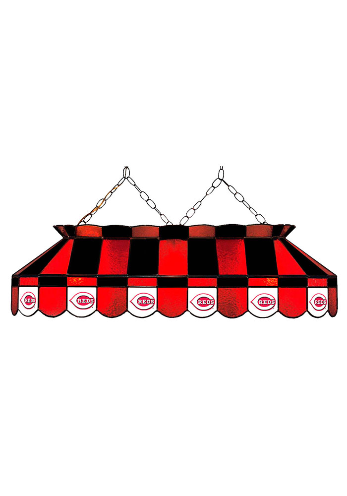 Cincinnati Reds 40 Inch Stained Glass Red Billiard Lamp - Image 1