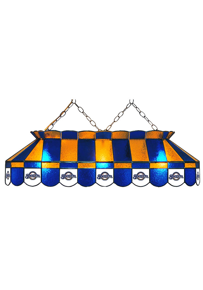 Milwaukee Brewers 40 Inch Stained Glass Blue Billiard Lamp - Image 1