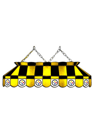 Pittsburgh Steelers 40 Inch Stained Glass Black Billiard Lamp