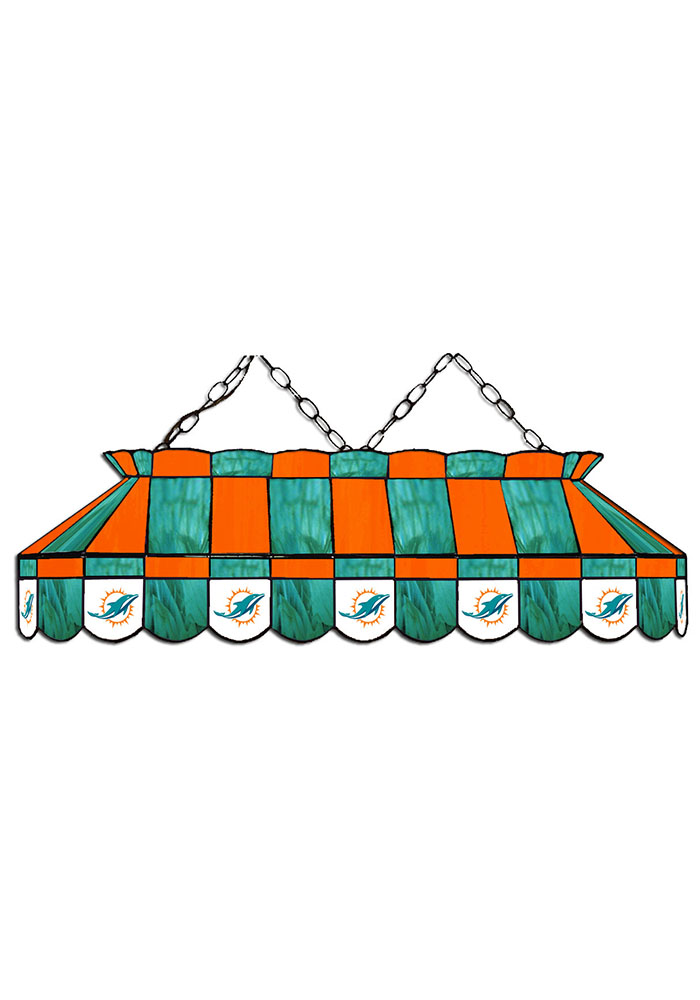 Miami Dolphins 40 Inch Stained Glass Orange Billiard Lamp - Image 1