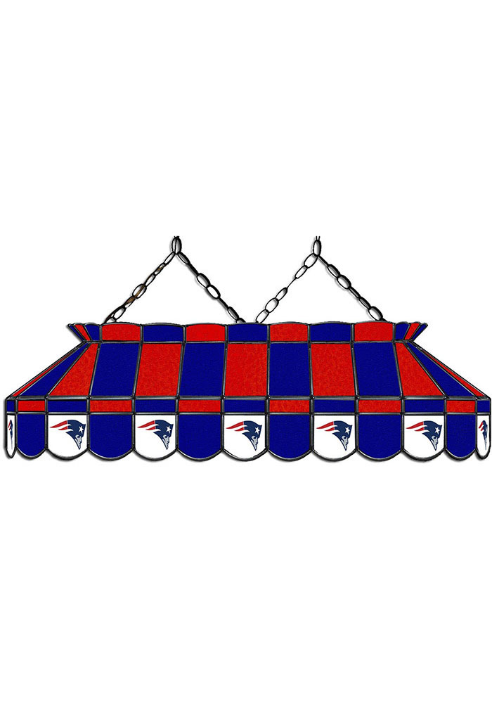 New England Patriots 40 Inch Stained Glass Red Billiard Lamp - Image 1