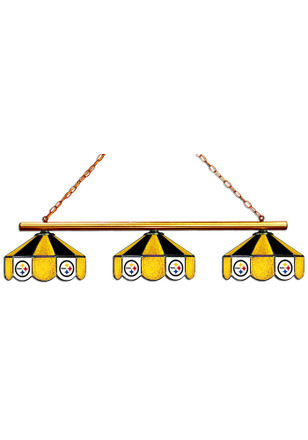 Pittsburgh Steelers 3 Shade Stained Glass Yellow Billiard Lamp