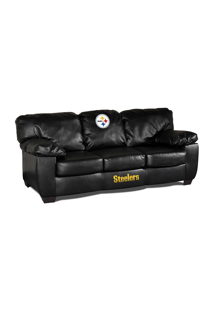 Pittsburgh Steelers Black Leather Classic Sofa