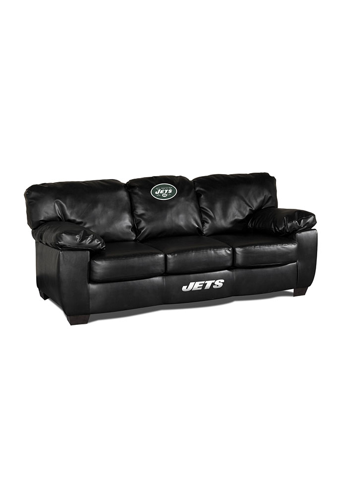 New York Jets Black Leather Classic Sofa 1930608