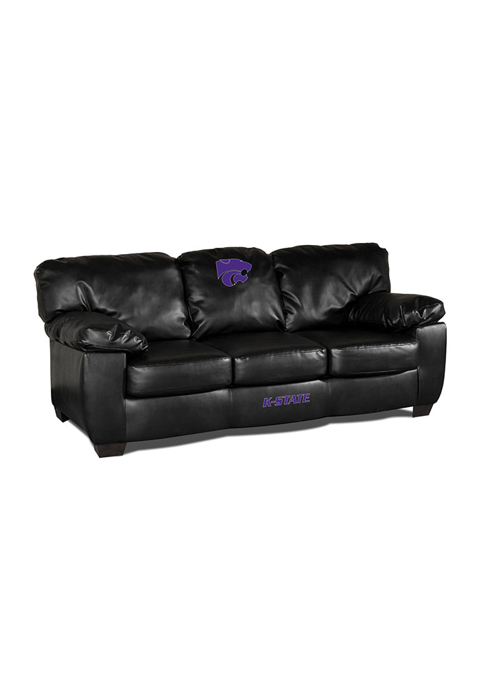 K-State Wildcats Black Leather Classic Sofa 1930973