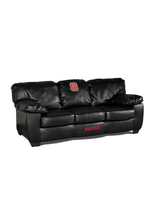 NC State Wolfpack Black Leather Classic Sofa