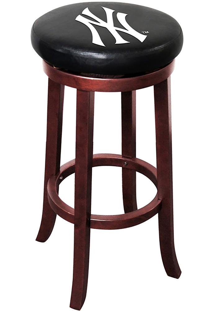 New York Yankees 30 Inch Mahogany Wood Pub Stool - Image 1