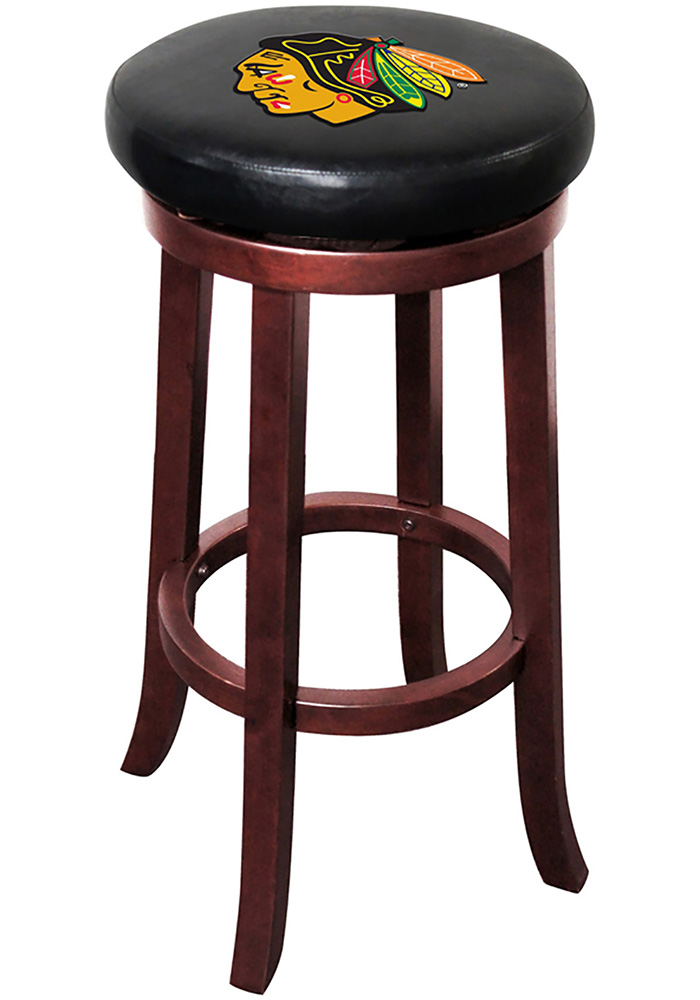 Chicago Blackhawks 30 Inch Mahogany Wood Pub Stool - Image 1