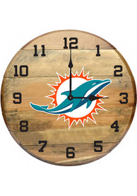Miami Dolphins Oak Barrel Wall Clock