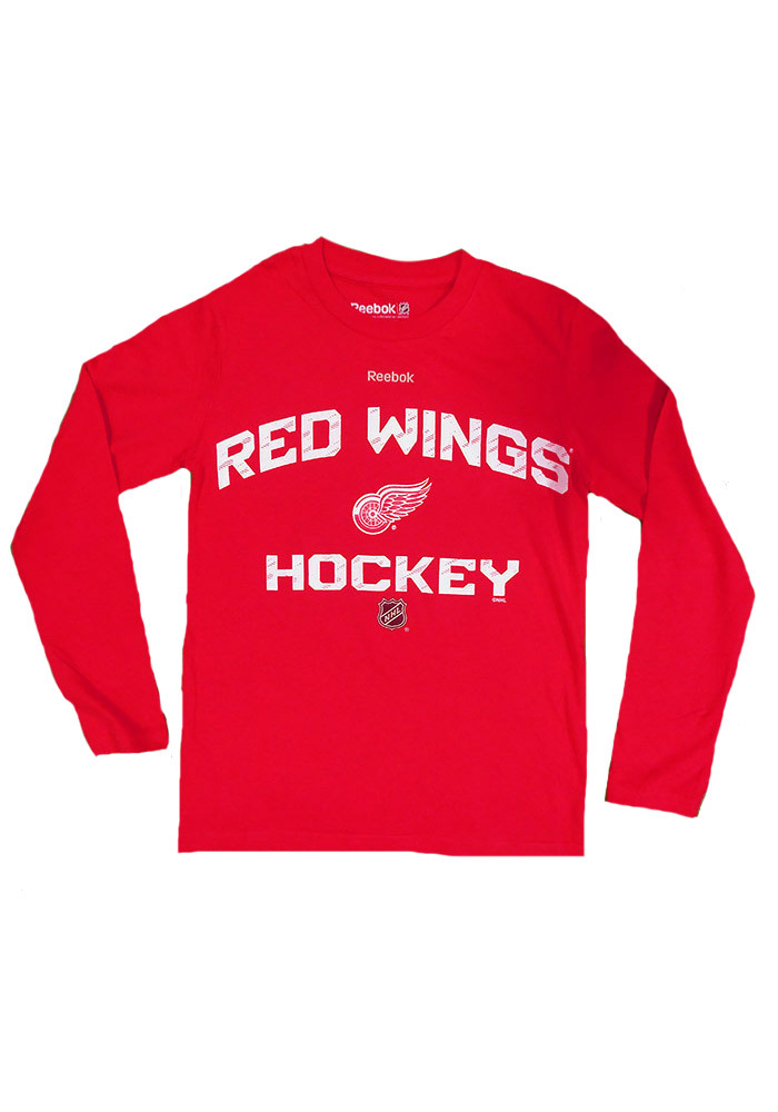 Detroit Red Wings Youth Red CI Locker Status Long Sleeve T-Shirt - Image 1