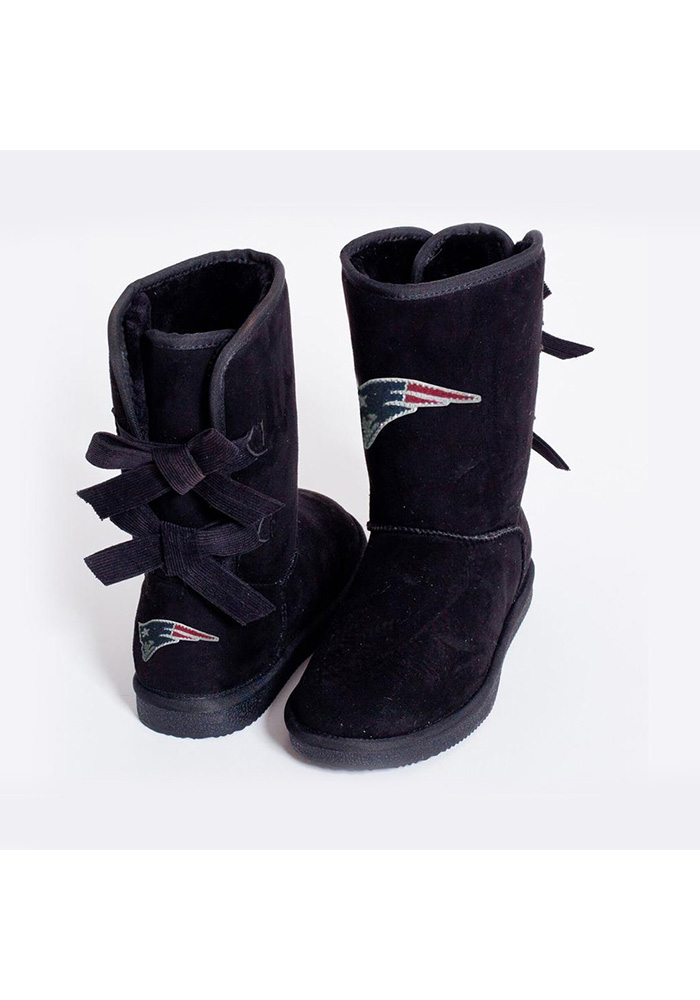 New England Patriots Black Bow Boot Womens Shoes - Image 1