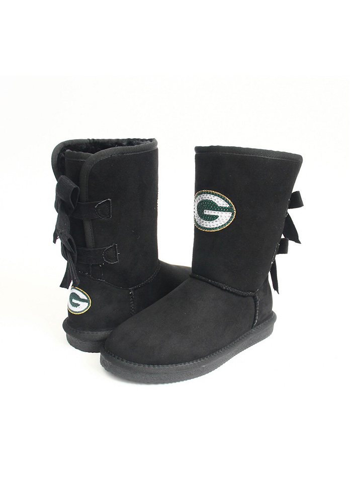 Green Bay Packers Black Bow Boot Womens Shoes - Image 1