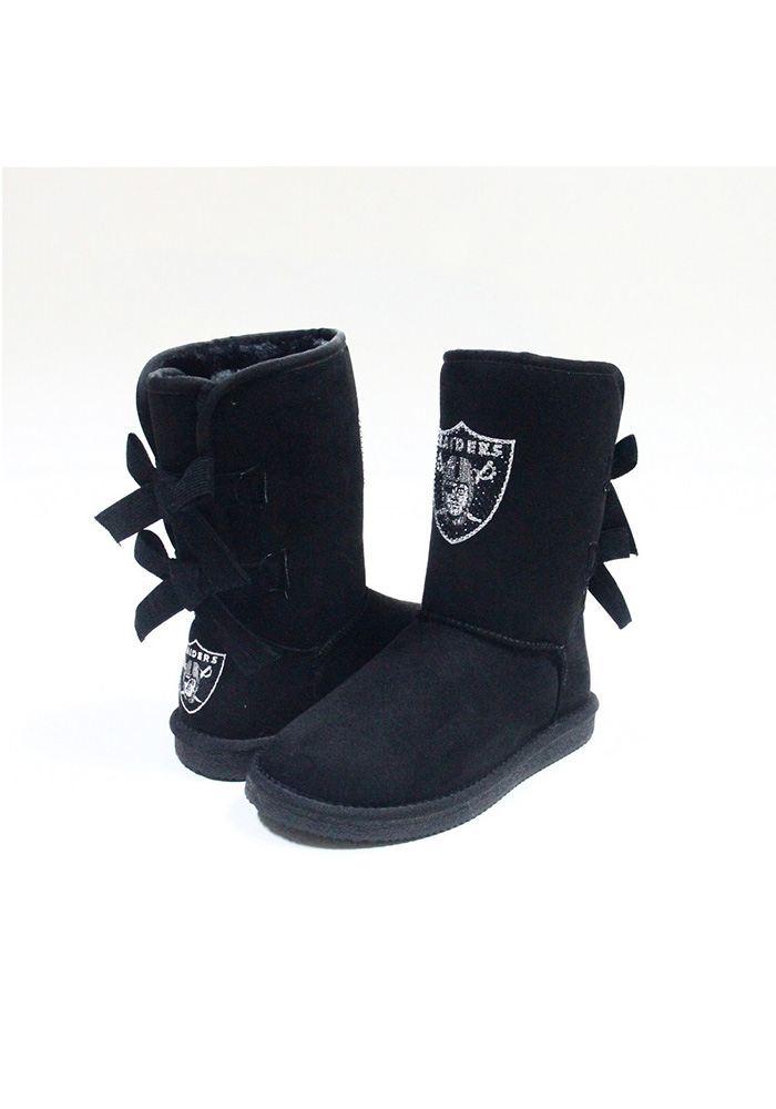 Oakland Raiders Black Bow Boot Womens Shoes - Image 1