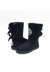 9ad1c51f Minnesota Vikings Black Bow Boot Womens Shoes