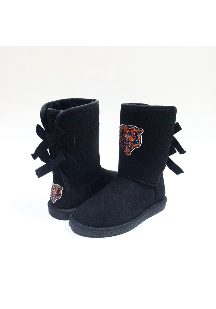Chicago Bears Black Bow Boot Womens Shoes - Image 1