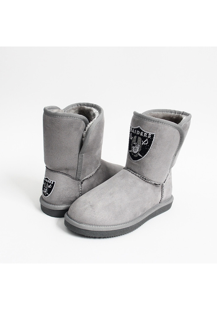 Oakland Raiders Grey Slip On Boot Womens Shoes - Image 1