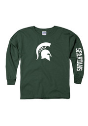 Michigan State Spartans Youth Green Logo Long Sleeve T-Shirt