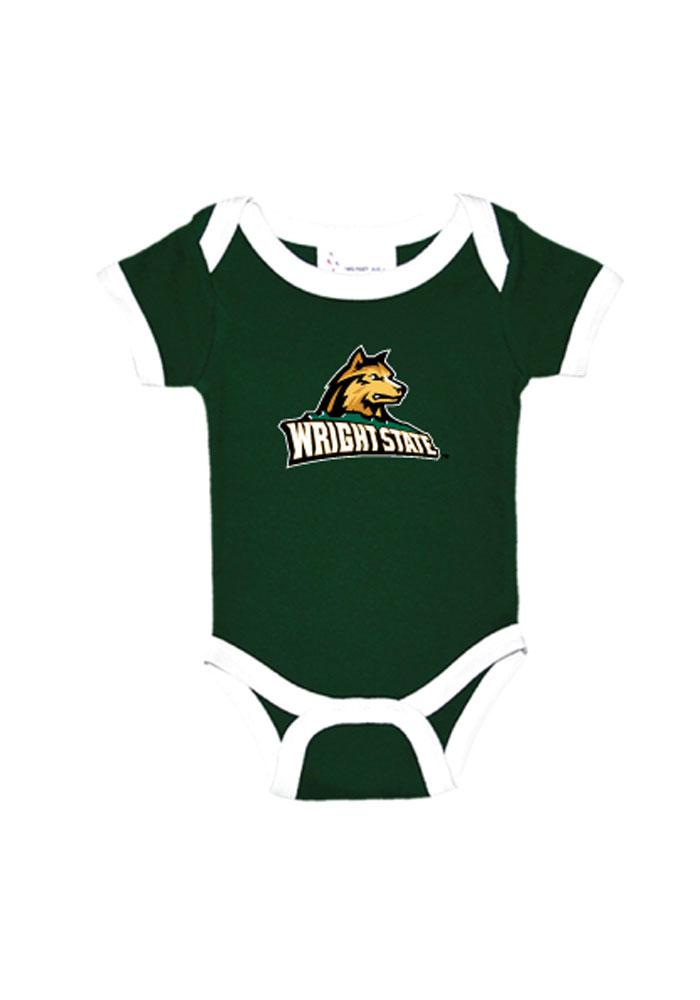 Wright State Raiders Baby Green Ringer Short Sleeve One Piece - Image 1