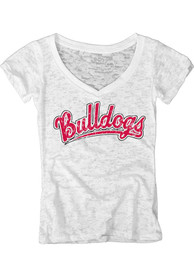 Ferris State Bulldogs Womens White Burnout V-Neck