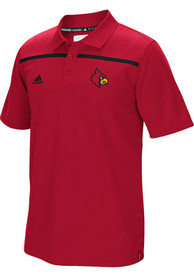 Adidas Louisville Cardinals Mens Red Sideline Coaches Short Sleeve Polo Shirt
