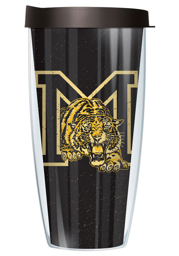 Missouri Tigers Tiger with M logo on black background Tumbler - Image 1