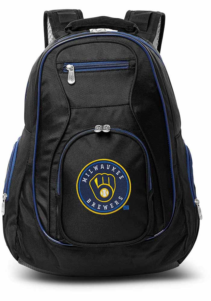 Milwaukee Brewers Black 19g Laptop Blue Trim Backpack - Image 1
