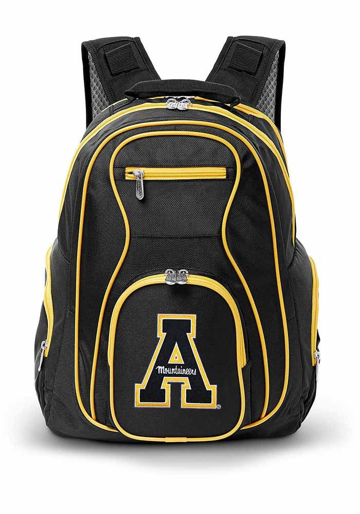 Appalachian State Mountaineers 19 Laptop Yellow Trim Backpack - Black