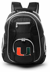Miami Hurricanes 19 Laptop Grey Trim Backpack - Black