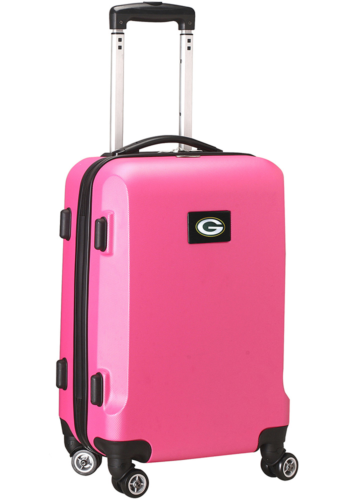 Green Bay Packers Pink 20 Hard Shell Carry On Luggage - Image 1
