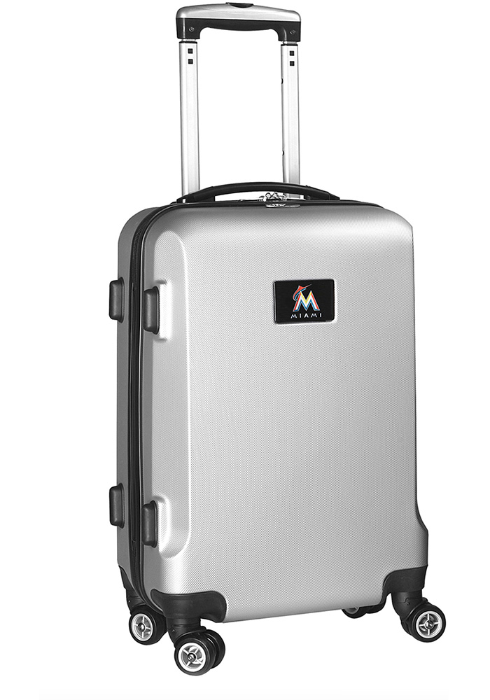 Miami Marlins Silver 20g Hard Shell Carry On Luggage - Image 1