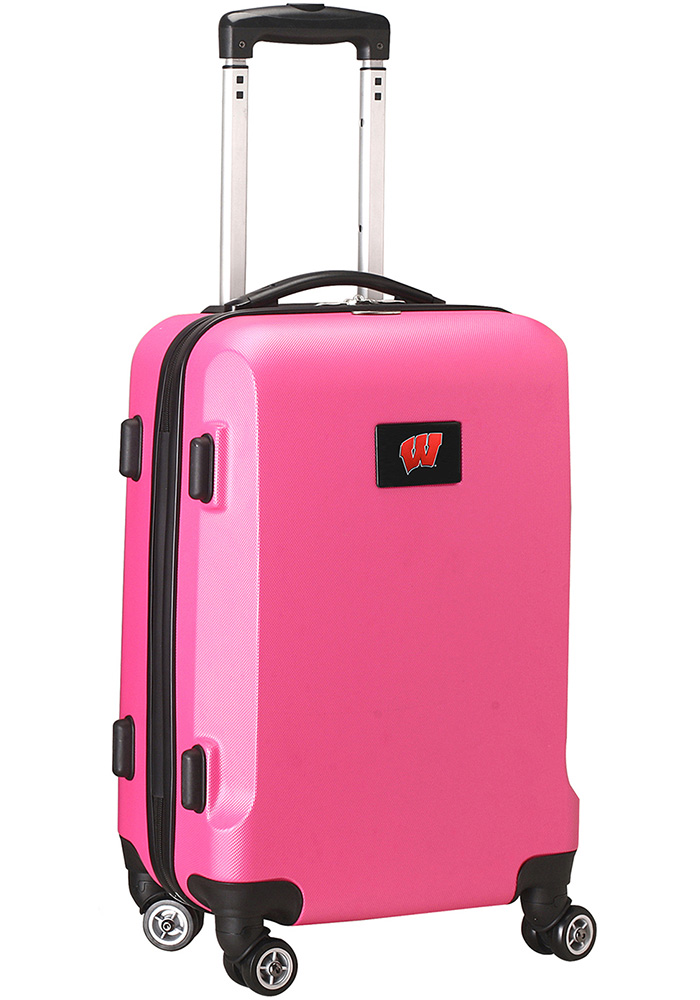 Wisconsin Badgers Pink 20g Hard Shell Carry On Luggage - Image 1