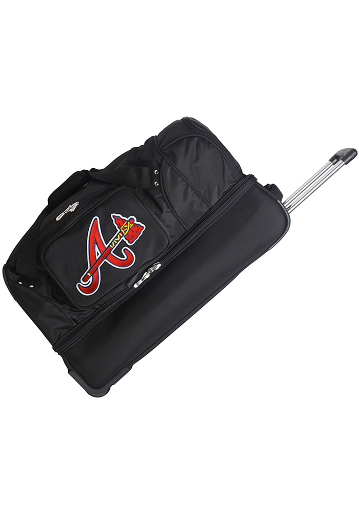 Atlanta Braves Black 27g Rolling Duffel Luggage - Image 1