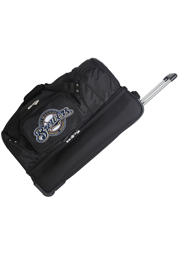 Milwaukee Brewers Black 27g Rolling Duffel Luggage - Image 1