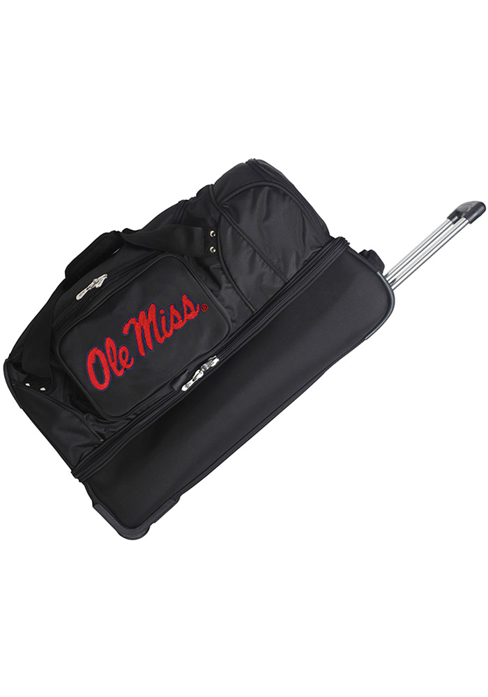 Ole Miss Rebels Black 27g Rolling Duffel Luggage - Image 1