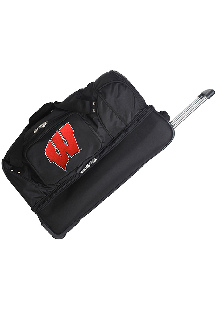 Wisconsin Badgers Black 27g Rolling Duffel Luggage - Image 1