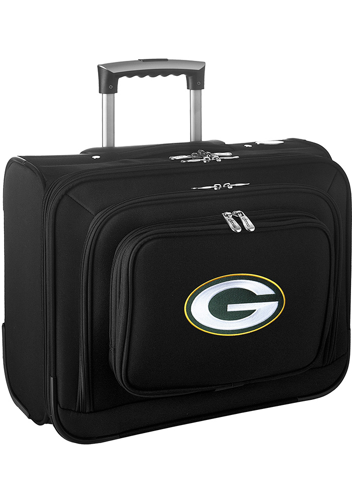 Green Bay Packers Black Overnighter Laptop Luggage - Image 1