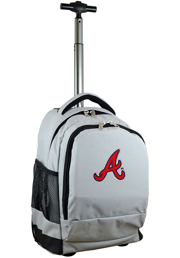 Atlanta Braves Grey Wheeled Premium Backpack - Image 1