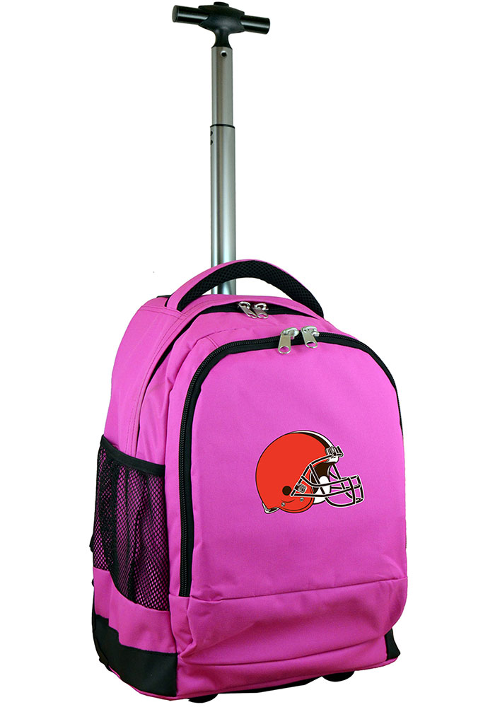Cleveland Browns Pink Wheeled Premium Backpack - Image 1