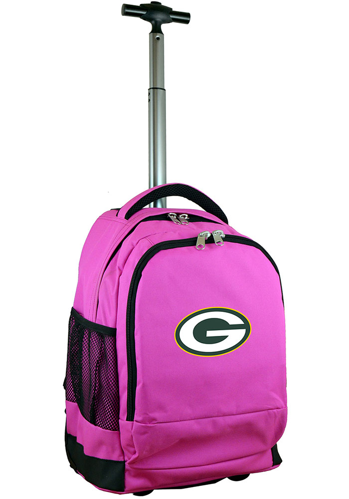 Green Bay Packers Pink Wheeled Premium Backpack - Image 1
