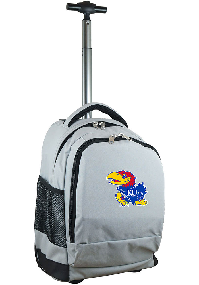 Kansas Jayhawks Grey Wheeled Premium Backpack - Image 1