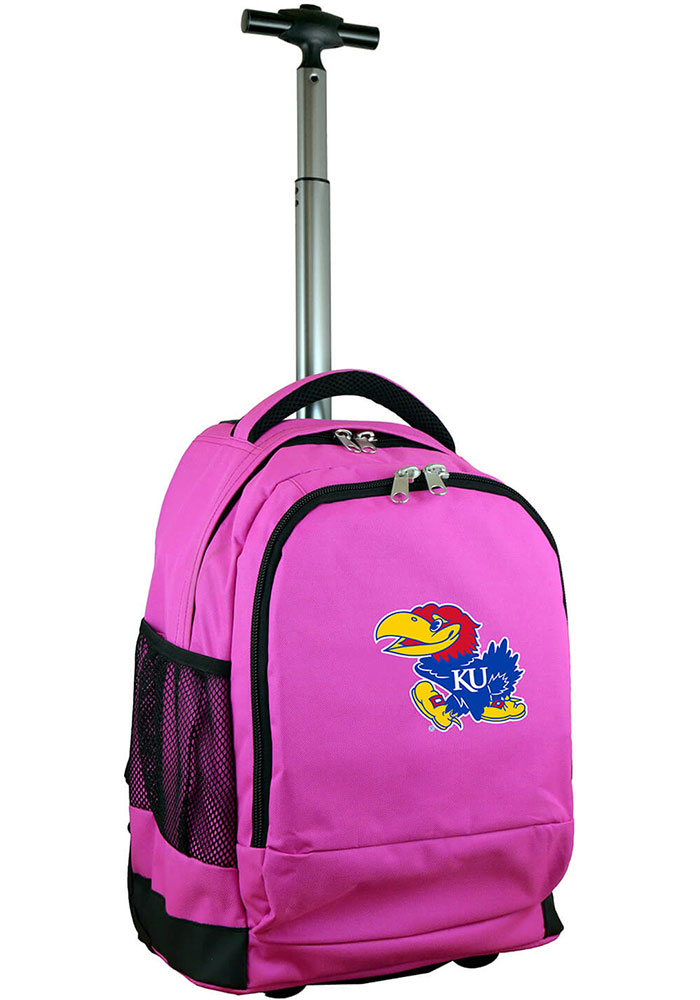 Kansas Jayhawks Pink Wheeled Premium Backpack - Image 1