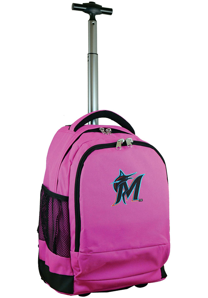 Miami Marlins Pink Wheeled Premium Backpack - Image 1