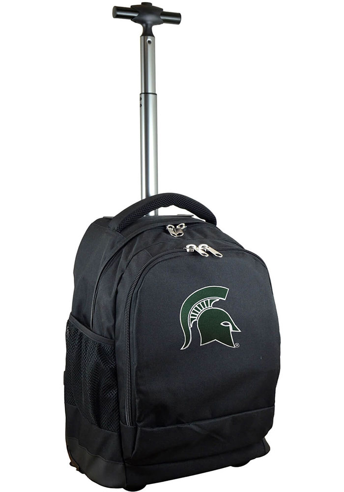 Michigan State Spartans Black Wheeled Premium Backpack - Image 1
