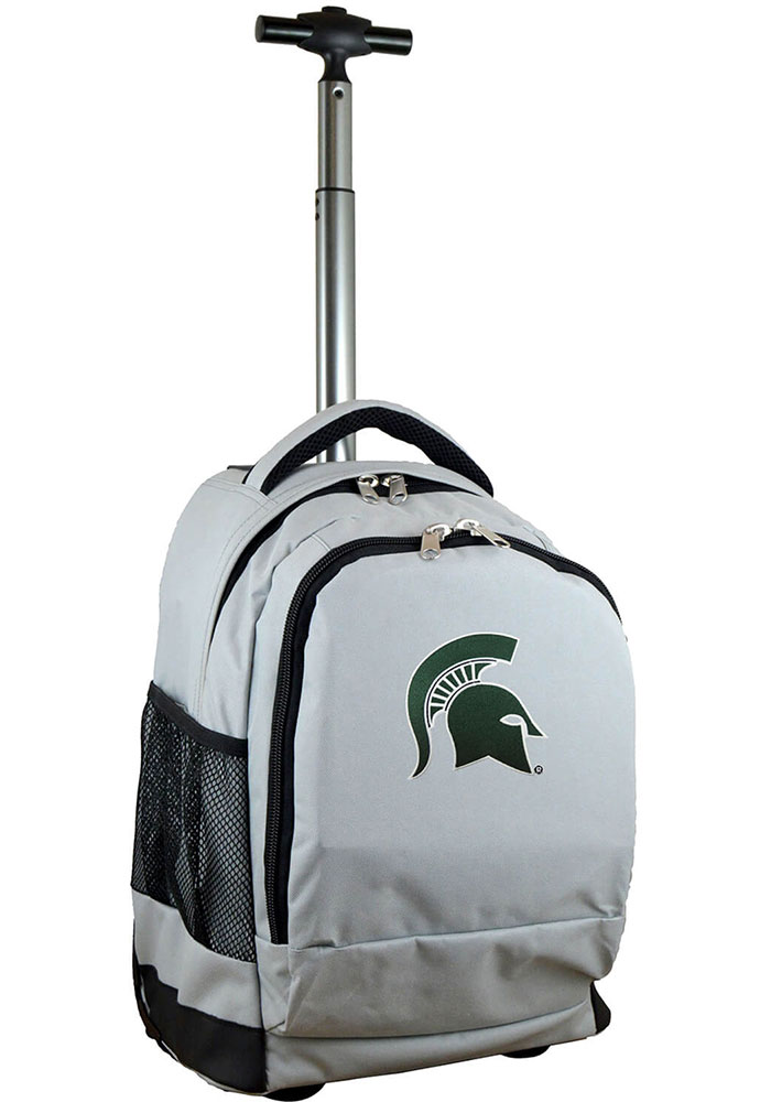 Michigan State Spartans Grey Wheeled Premium Backpack - Image 1