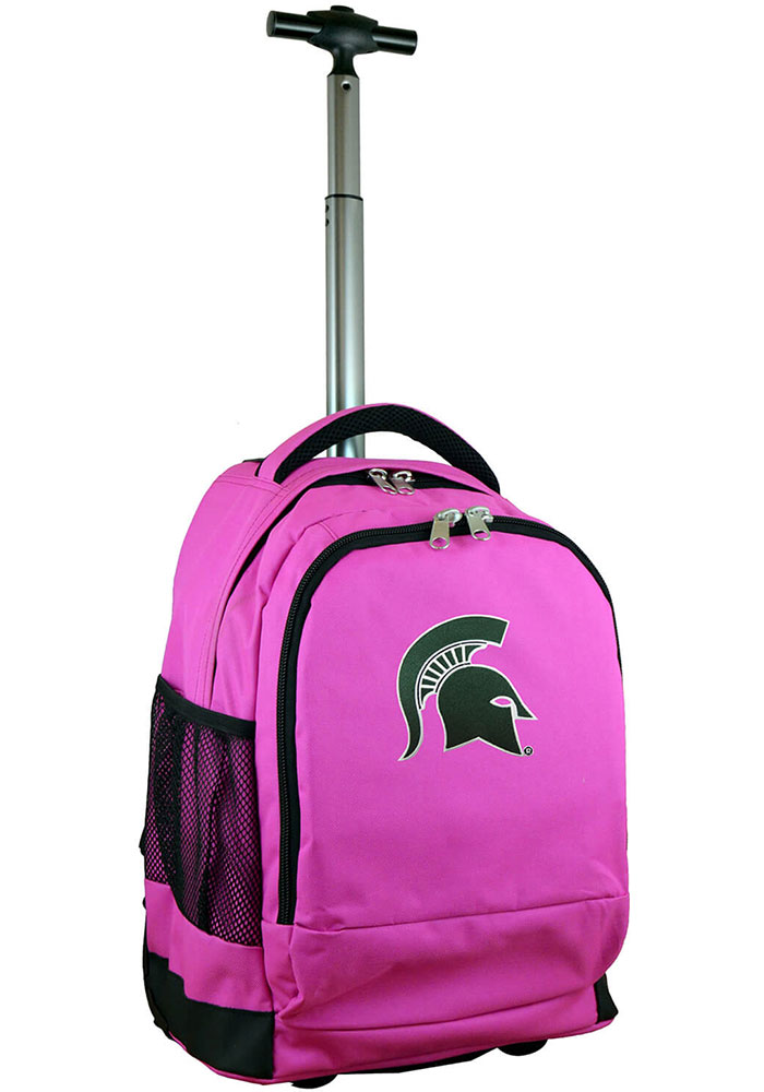 Michigan State Spartans Pink Wheeled Premium Backpack - Image 1
