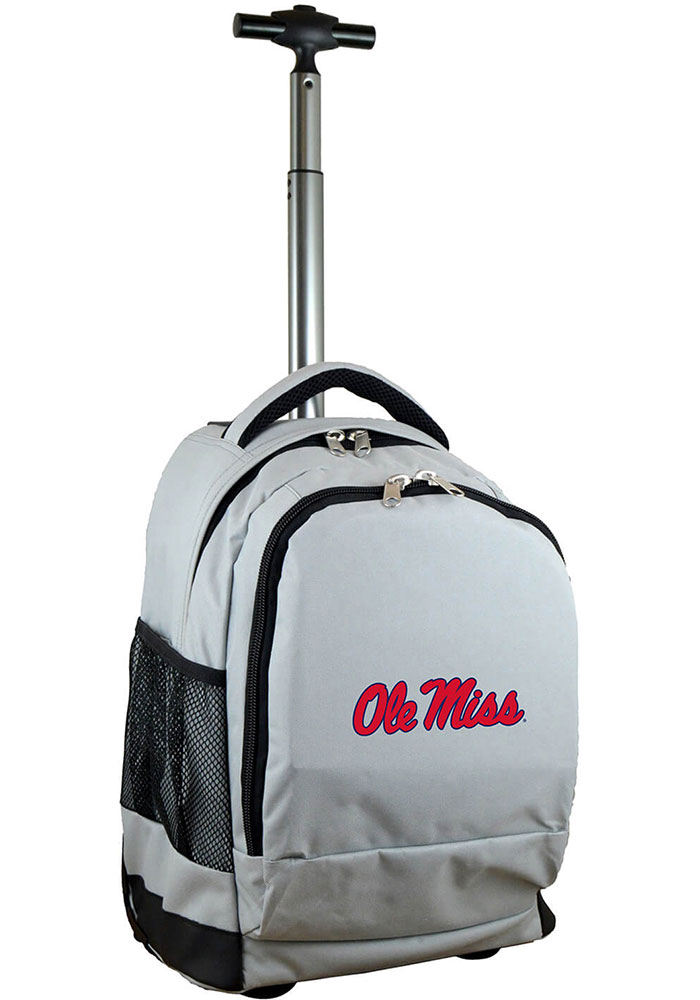 Ole Miss Rebels Grey Wheeled Premium Backpack - Image 1