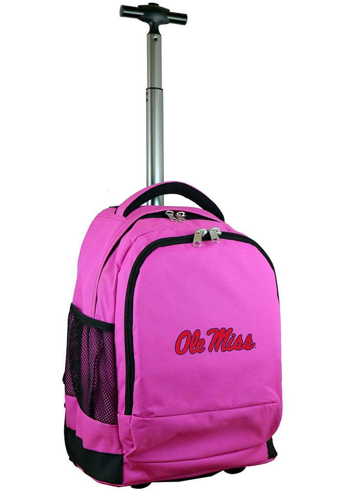Ole Miss Rebels Pink Wheeled Premium Backpack - Image 1