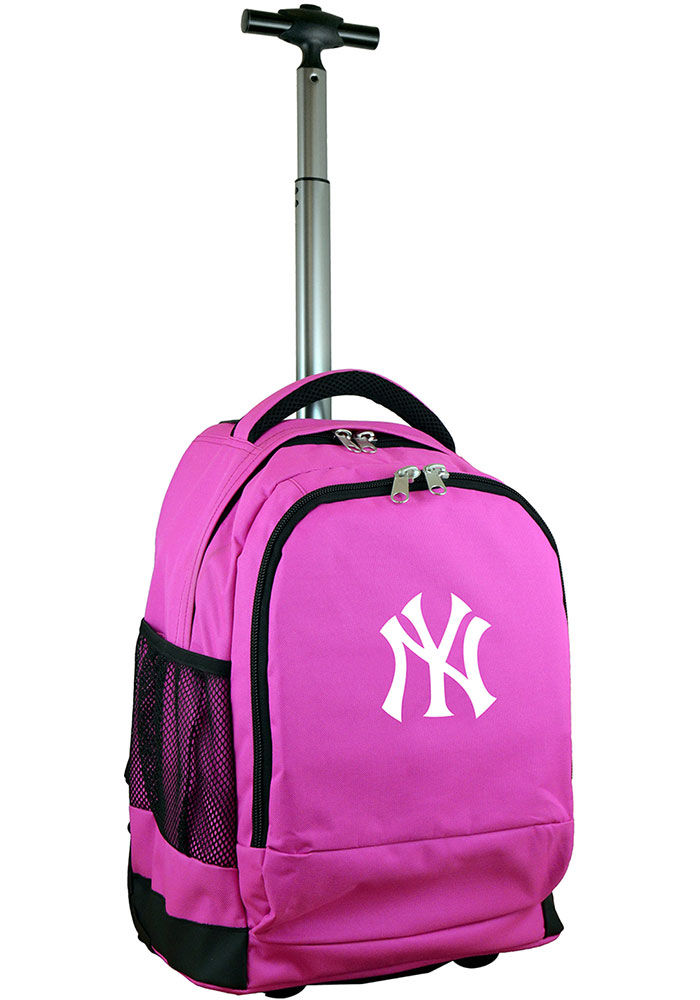 New York Yankees Pink Wheeled Premium Backpack - Image 1